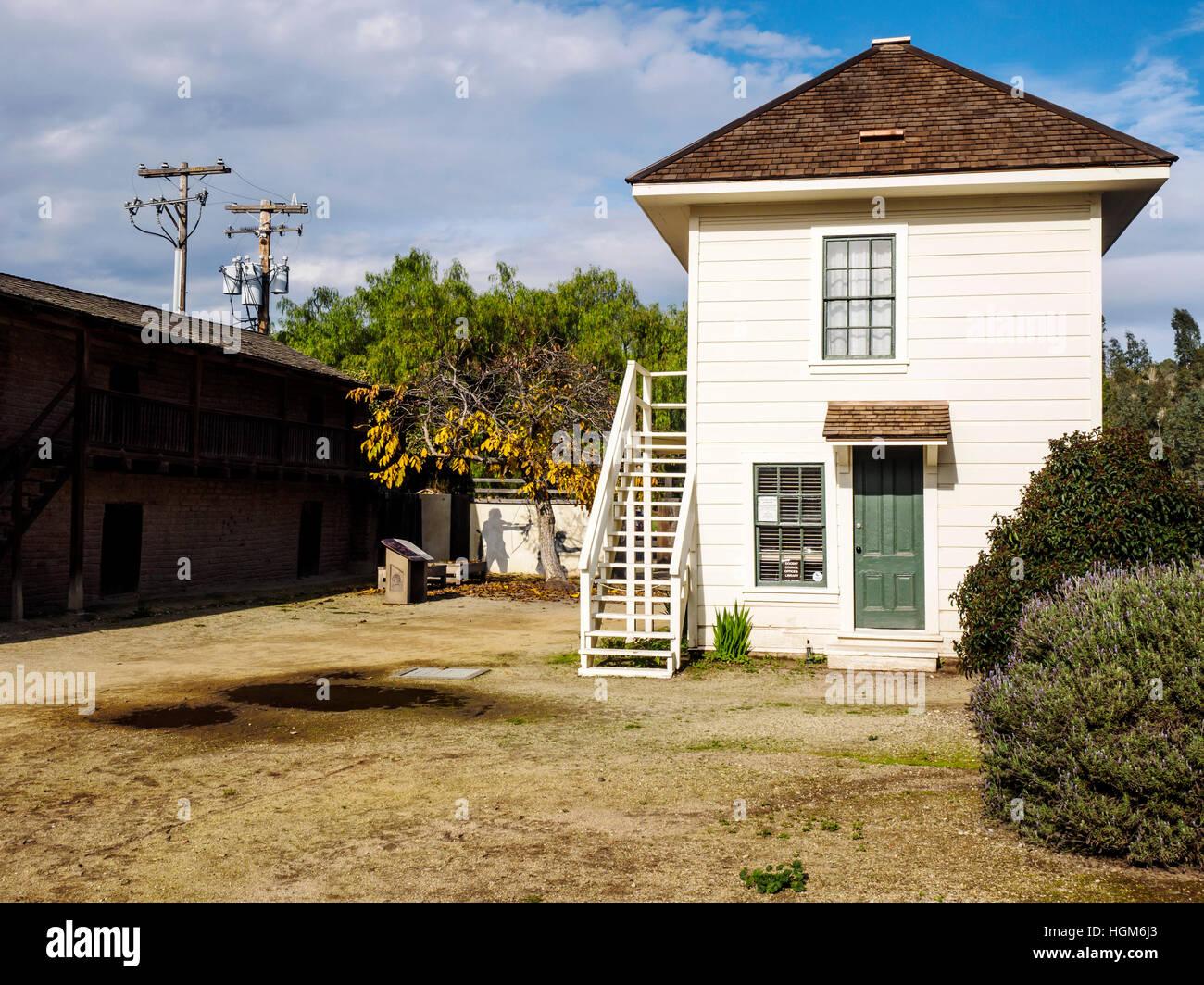 19th Century Servants Quarters block and historic buildings in Railroad Square in Sonoma State Historic Park, Sonoma - Stock Image