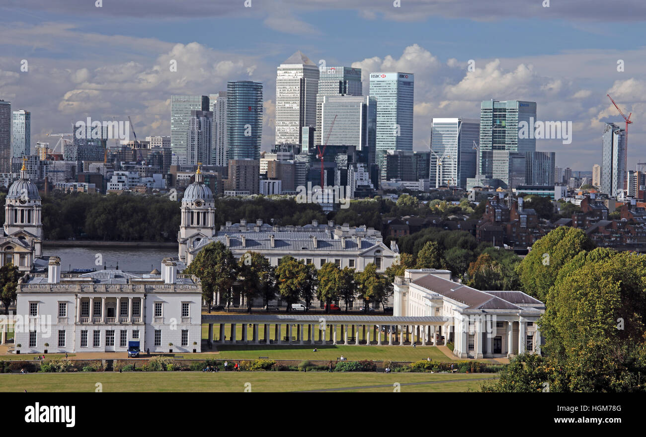 London Panorama from Greenwich, England,UK - Stock Image