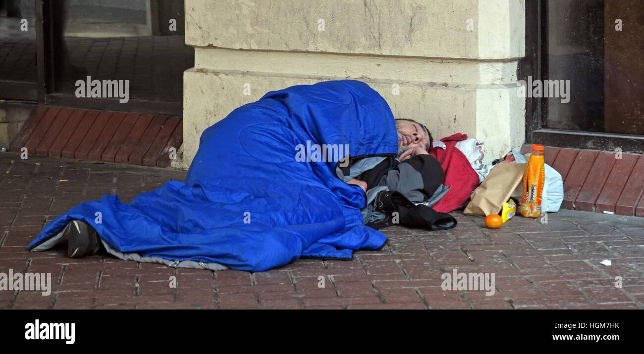 Homeless Rough Sleeper, office area,Liverpool,Merseyside,England,UK - Stock Image