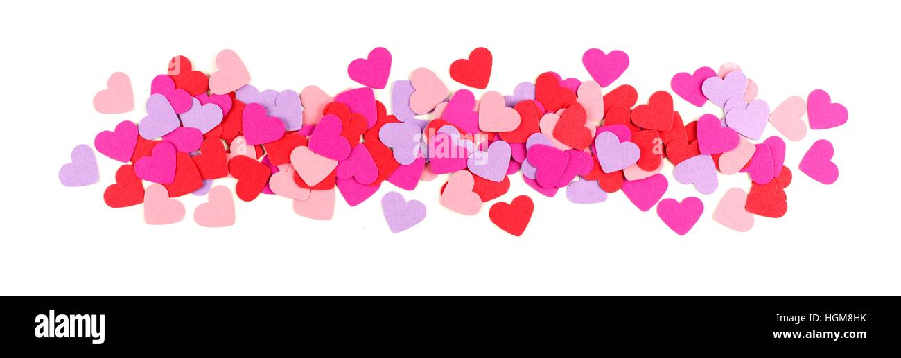 Valentines Day Border Of Colorful Paper Hearts Over White Stock