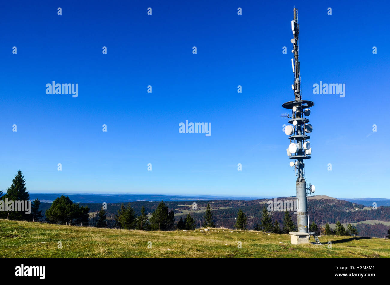 Cell tower on the Dent de Vaulion in the Swiss Jura - Stock Image