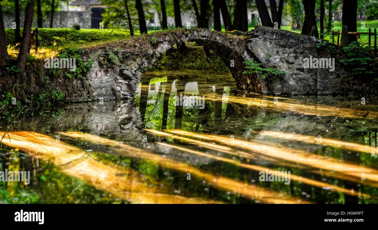 Old bridge in the park - reflection in the water - Stock Image
