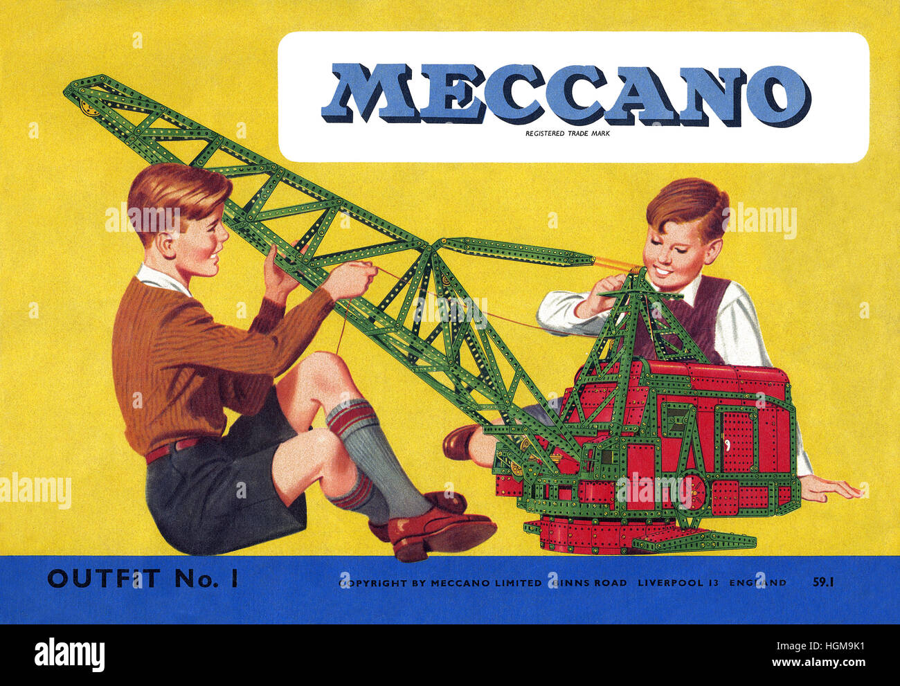Cover of a 1957 Meccano instruction booklet - Stock Image