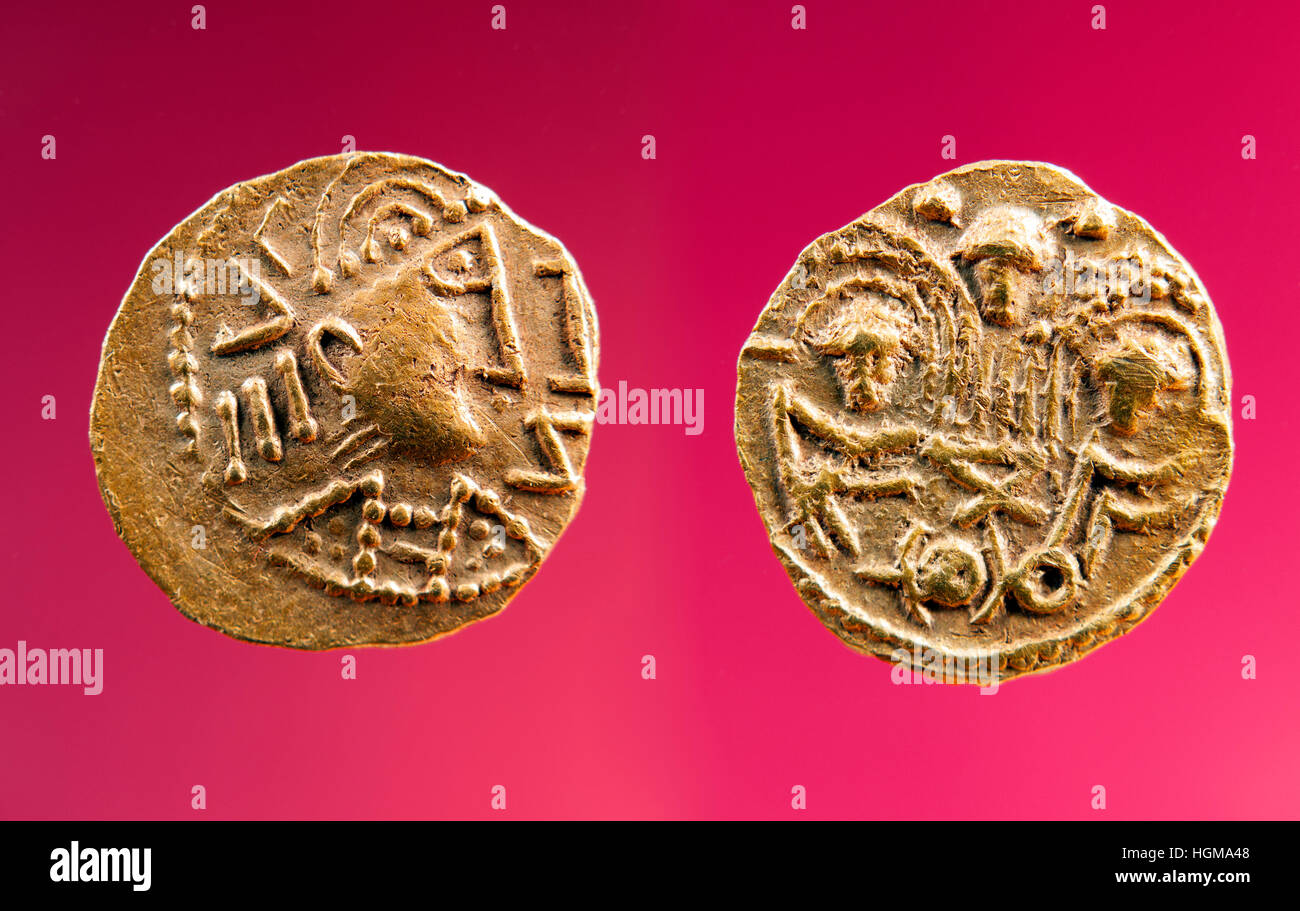 Gold coin. 767. Gold Anglo-Saxon Thrymsa, two emperor's type. - Stock Image