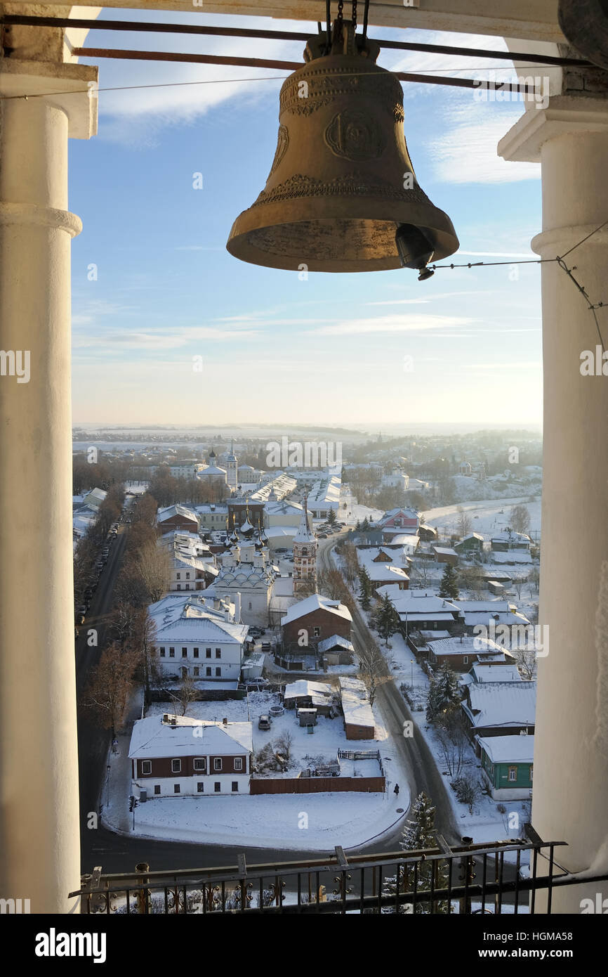 Overlooking Staraya Street from Bell Tower of the convent of Ryzopolozhensky Convent. Suzdal, Russia. - Stock Image