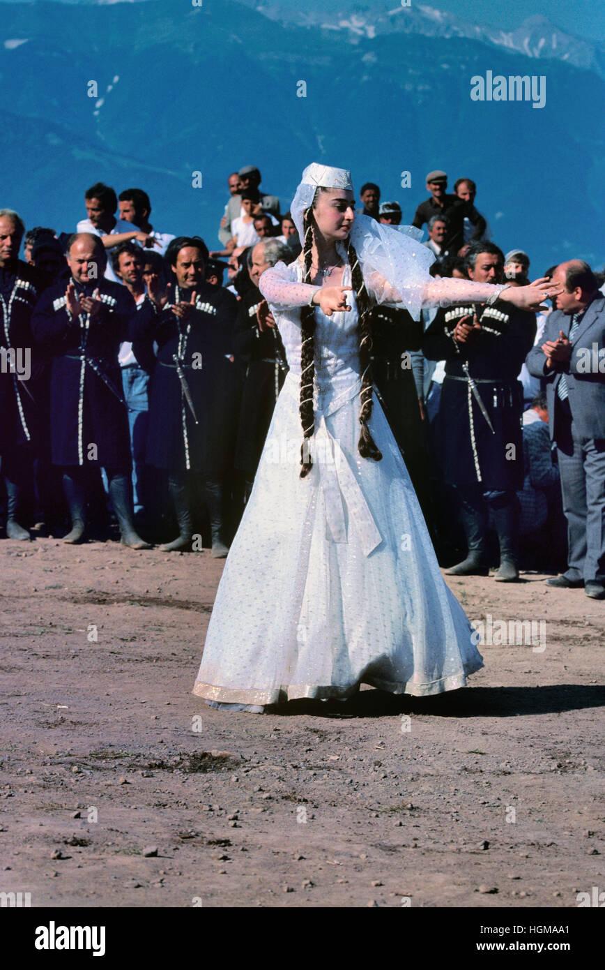 Georgian Young Woman in Wedding Dress or Georgian Dancer Dancing ...