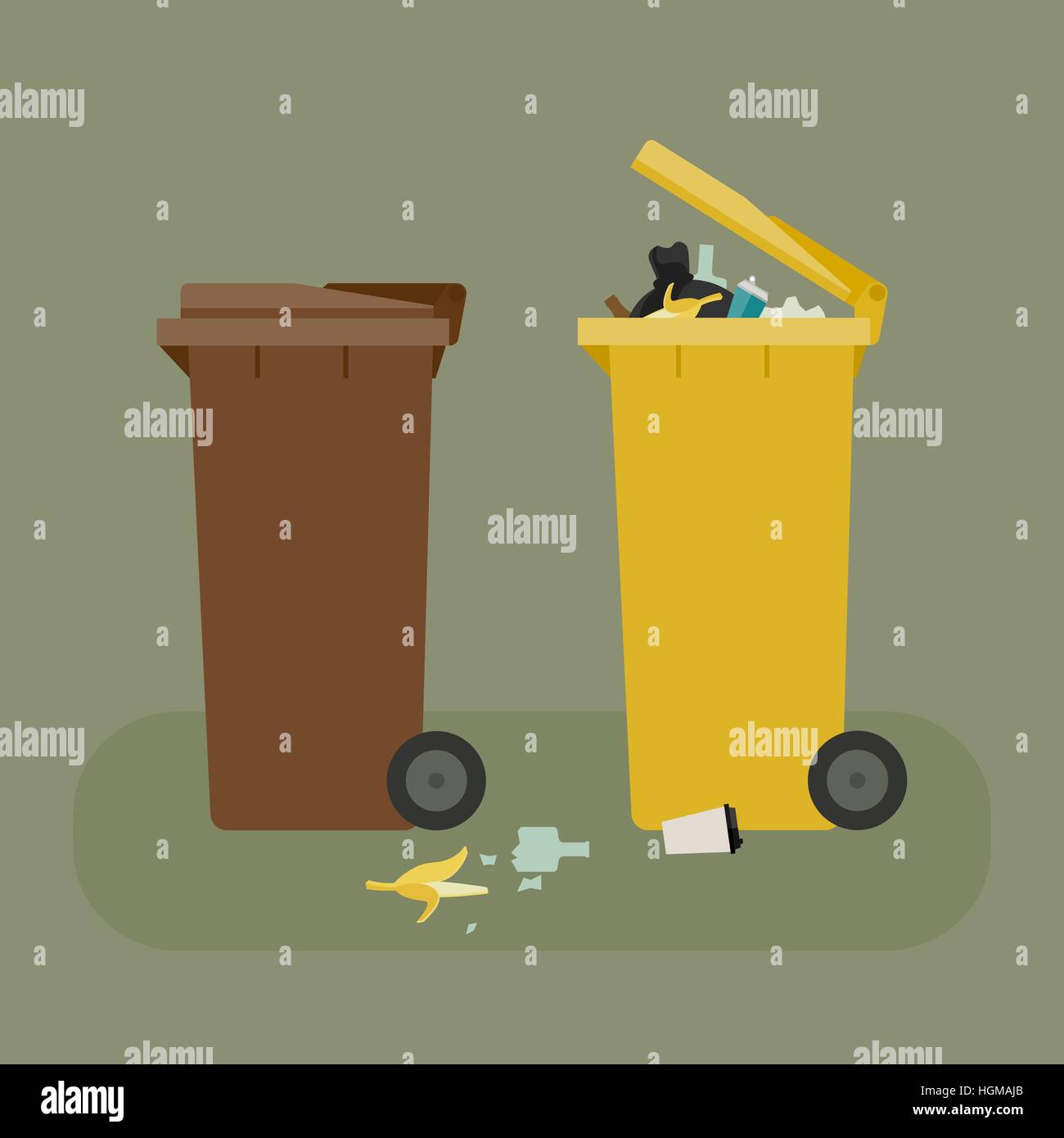 Dumpsters with garbage - Stock Vector