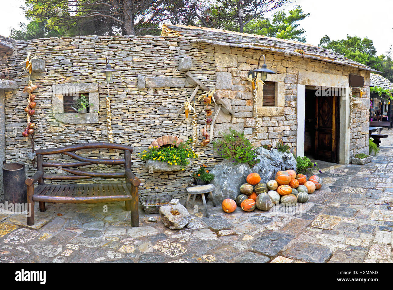 Dalmatian old stone village street, Croatia - Stock Image