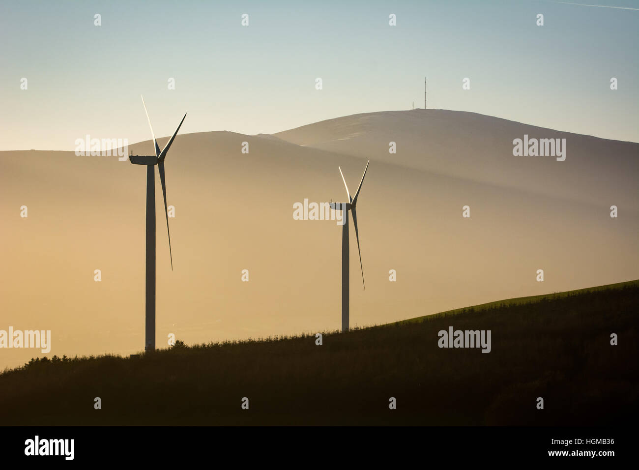 Wind turbines against a soft evening light and a backdrop of Mount Leinster in County Wexford in Ireland - Stock Image