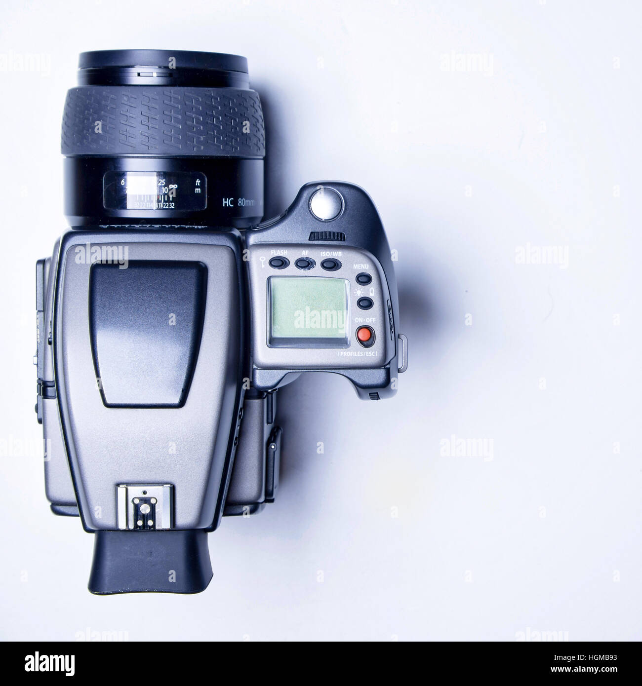 Top view of a hasselblad H4d-40 medium format camera - Stock Image