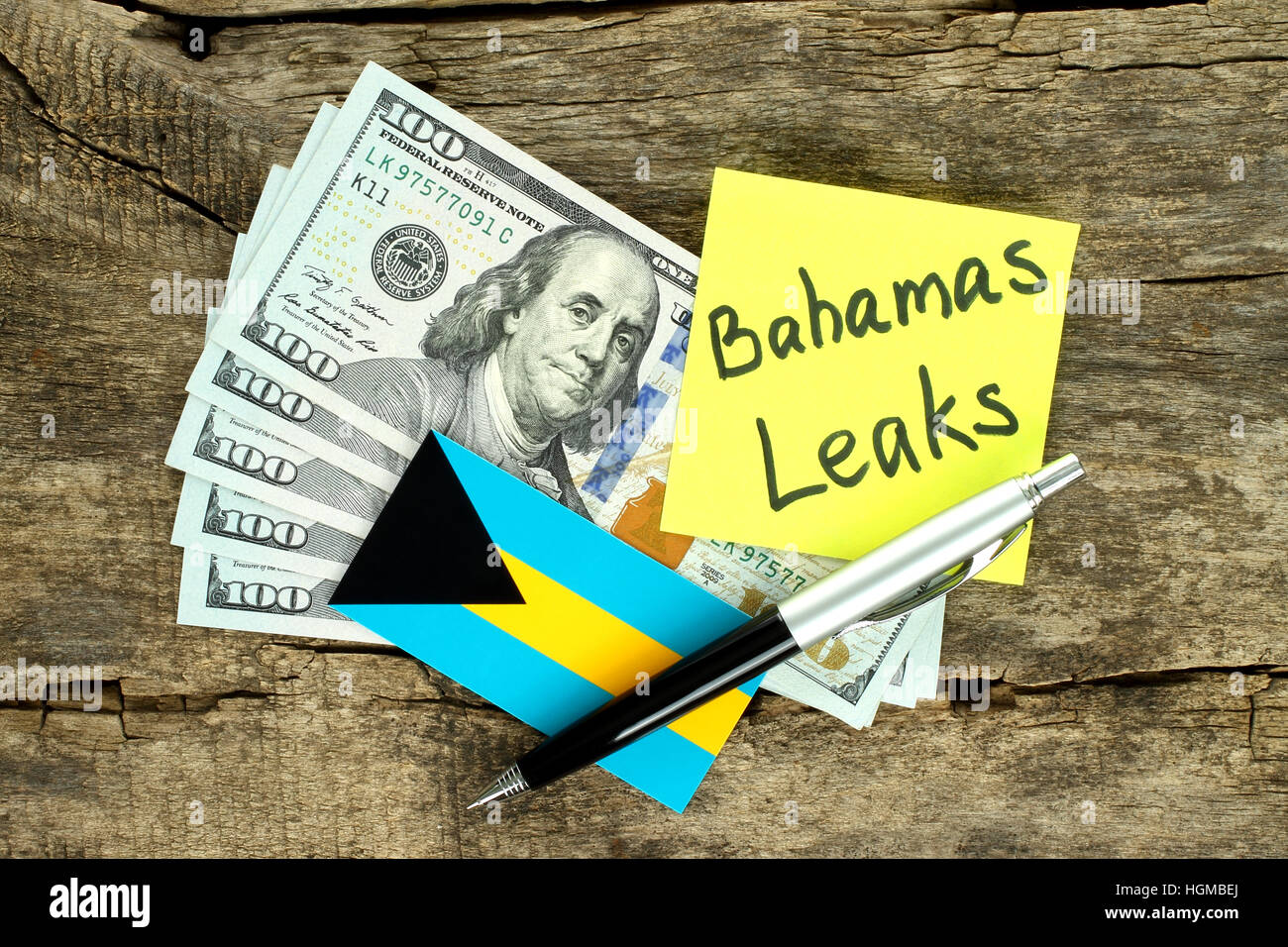 Bahamas Leaks scandal concept on wooden background - Stock Image