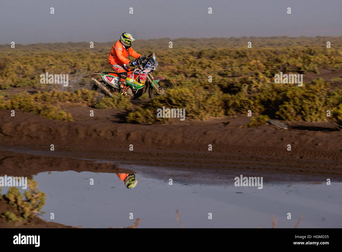 LA PAZ, LP - 10.01.2017: RALLY DAKAR 2017 - 032 Juan Carlos Salvatierra (BOL) KTM in the Dakar Rally 2017 on Tuesday - Stock Image