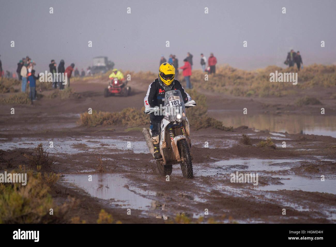 LA PAZ, LP - 10.01.2017: RALLY DAKAR 2017 - 107 Max Hunt (UK) the HUSQVARNA during the Dakar Rally 2017 on Tuesday - Stock Image