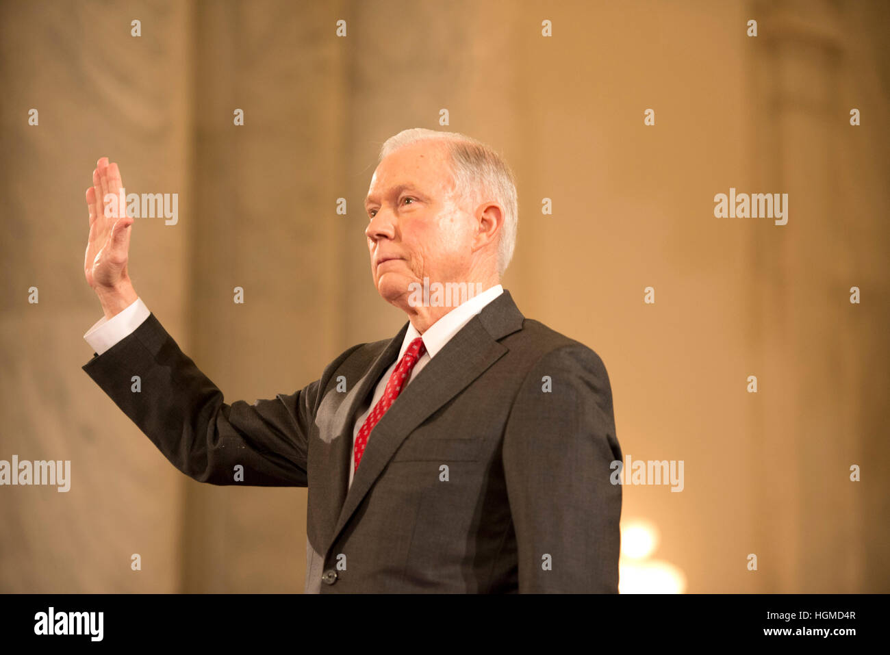 Washington, USA. 10th Jan, 2017.   Senator Jeff Sessions, R-AL, testifies on Capitol Hill at his confirmation hearing - Stock Image