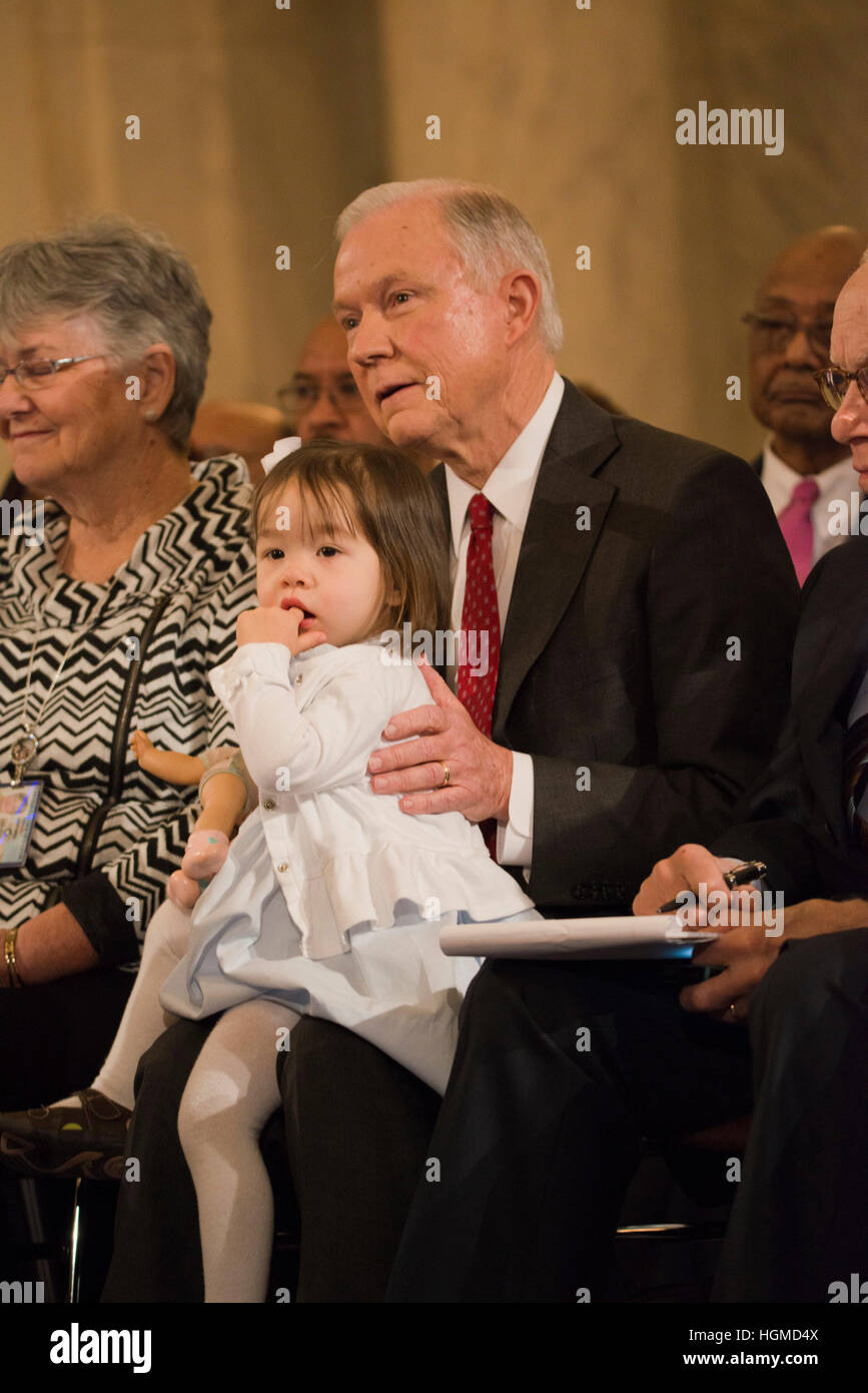 Washington, USA. 10th Jan, 2017.   Senator Jeff Sessions, R-AL, sits with one of his granddaughters before he testifies - Stock Image