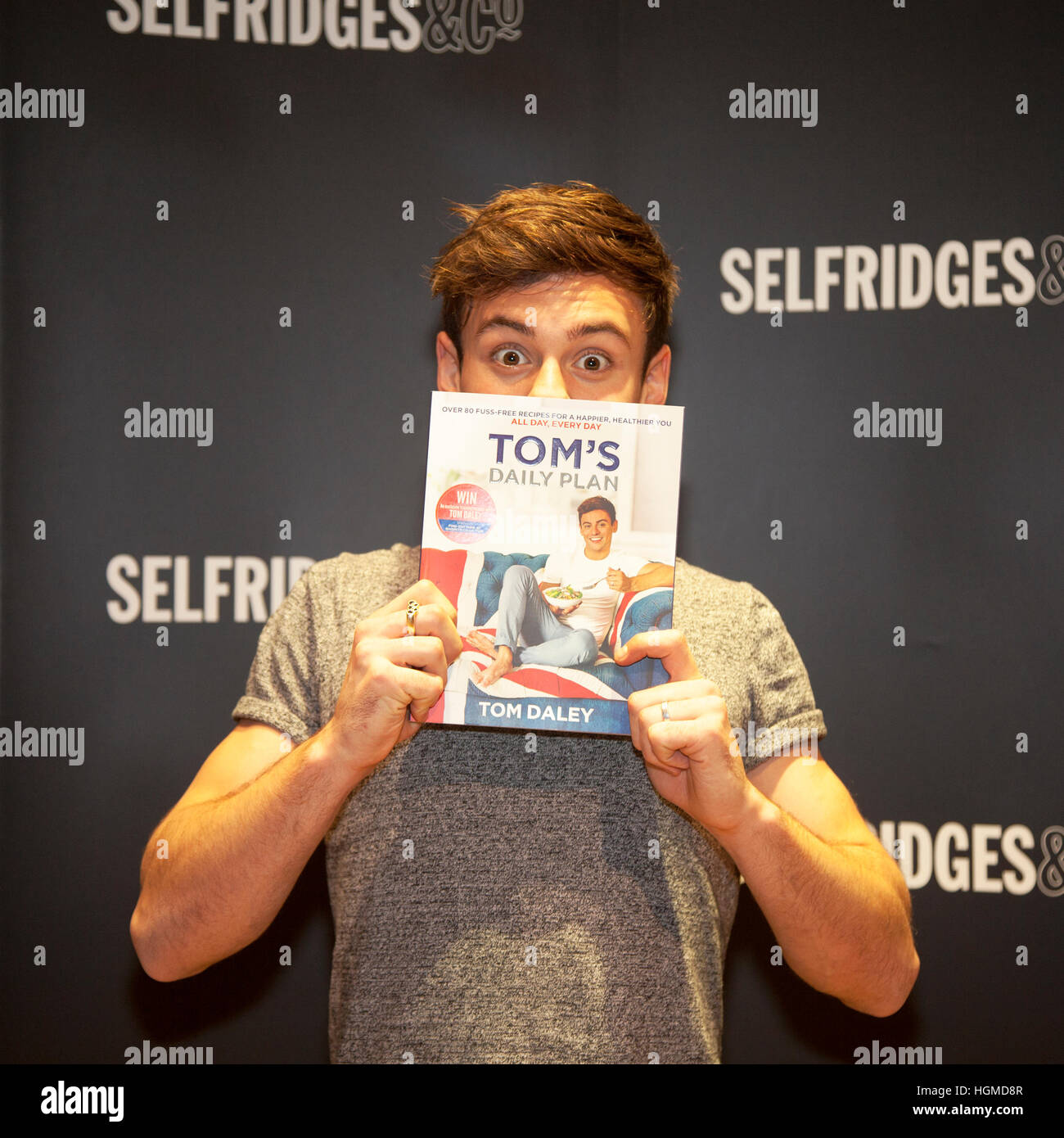 Tom Daley Book Signing, Trafford, Manchester, UK: 10th Jan 2017.  Olympic athlete & TV Presenter Tom Daley poses - Stock Image