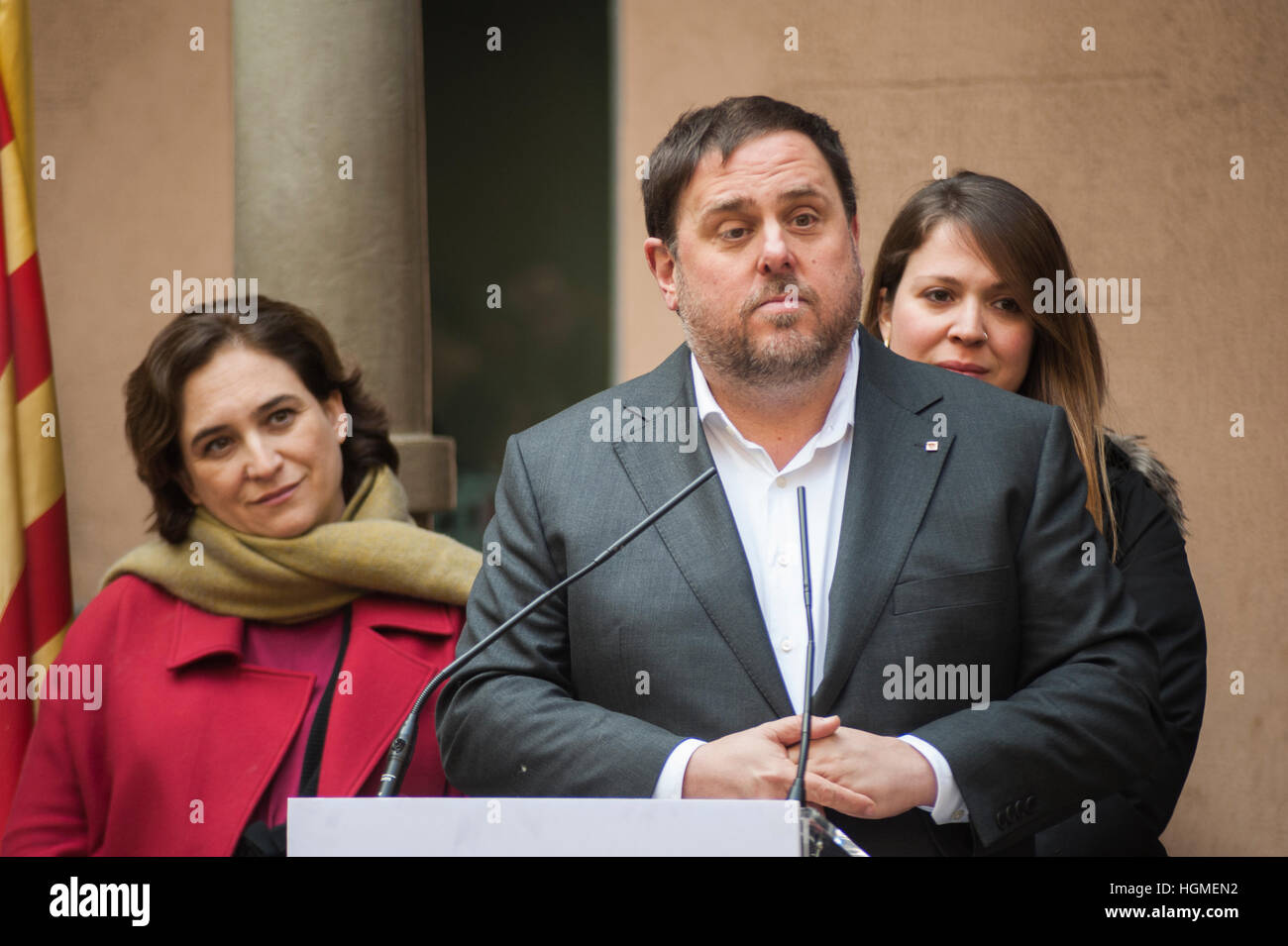 Spain, Barcelona. 10th Jan, 2017. The vice-president of the government, Oriol Junqueras During the press conference - Stock Image