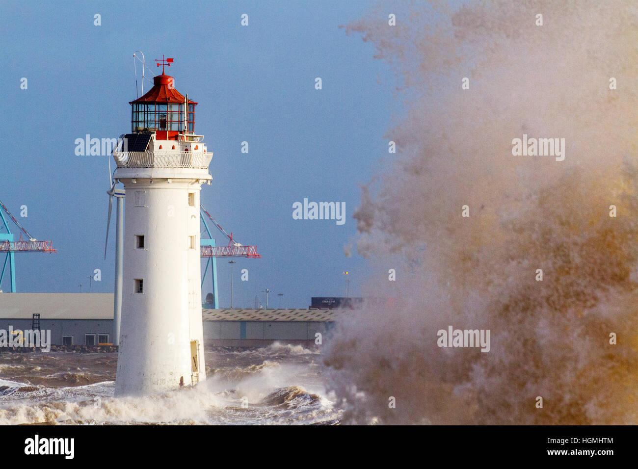 Storm Force Gales, New Brighton, Cheshire. 11th Jan 2017. Weather warnings are issued as storm force gales and high - Stock Image