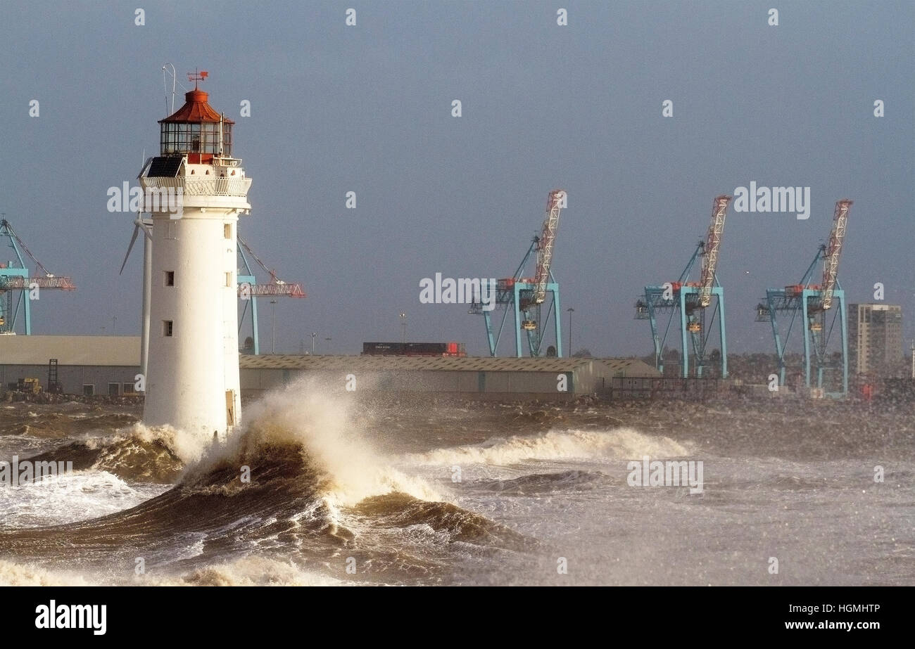 Storm Force Gales, New Brighton, Cheshire. UK 11th Jan 2017. Weather warnings are issued as storm force gales and - Stock Image