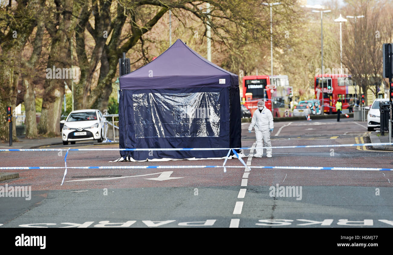 Brighton, UK. 11th Jan, 2017. Police at the scene of a hit and run incident at the junction of the Old Steine and - Stock Image