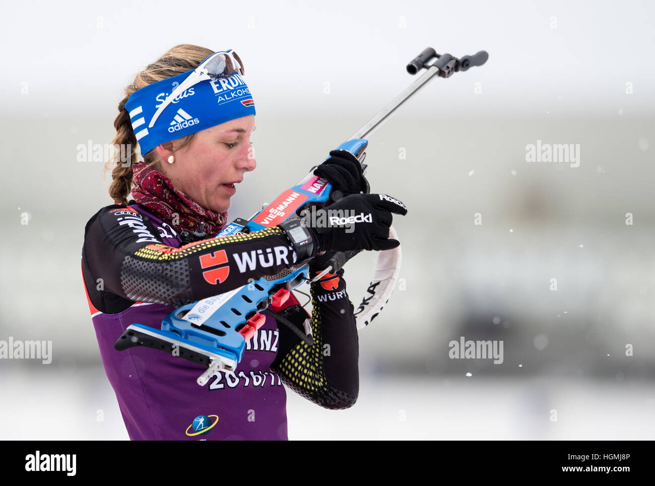 Ruhpolding, Germany. 11th Jan, 2017. Vanessa Hinz of Germany training at the shooting range during the Biathlon - Stock Image