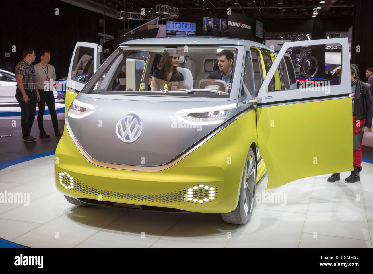 Detroit, Michigan USA - 10 January 2017 - Volkswagen's I.D. Buzz concept vehicle on display at the North American - Stock Image