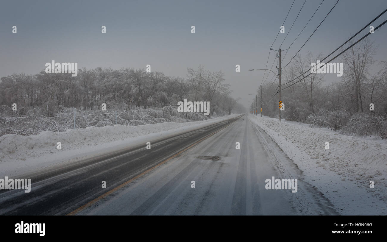 Winter icy cold road conditions 2. - Stock Image