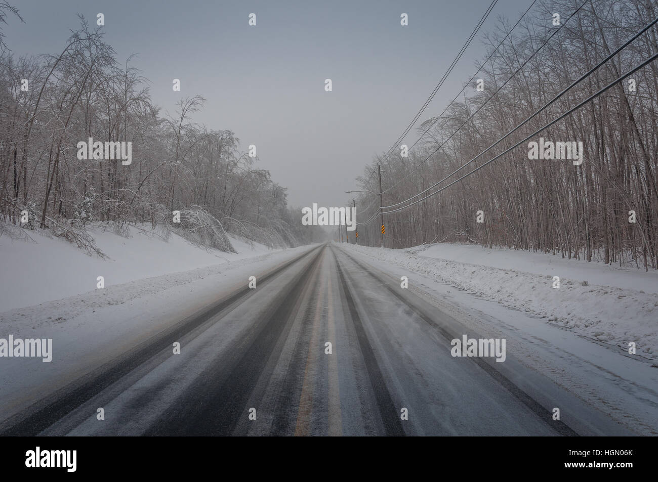 Winter icy cold road conditions 3. - Stock Image