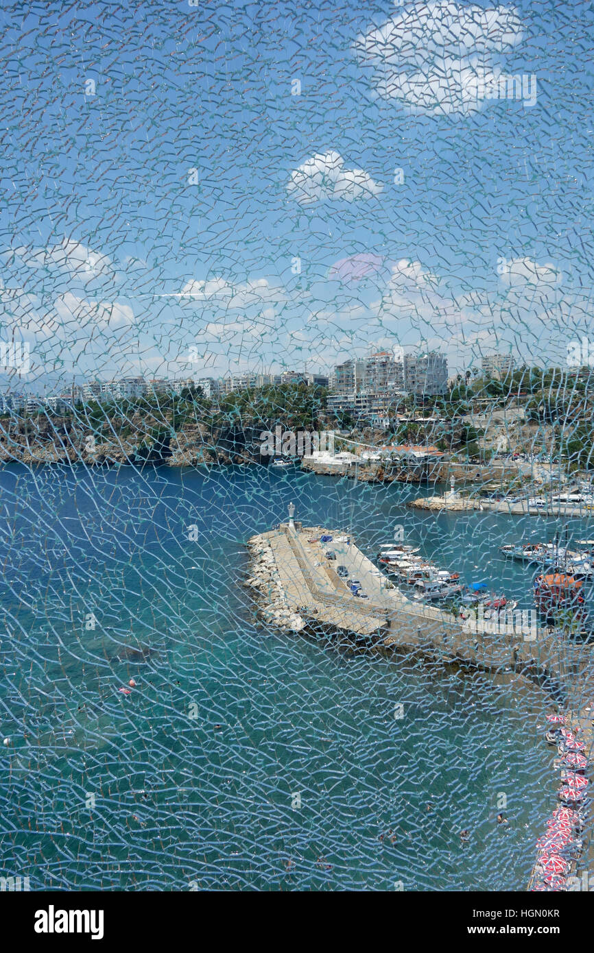 Mediterranean Sea and through the cracked glass, Antalya, Turkey - Stock Image