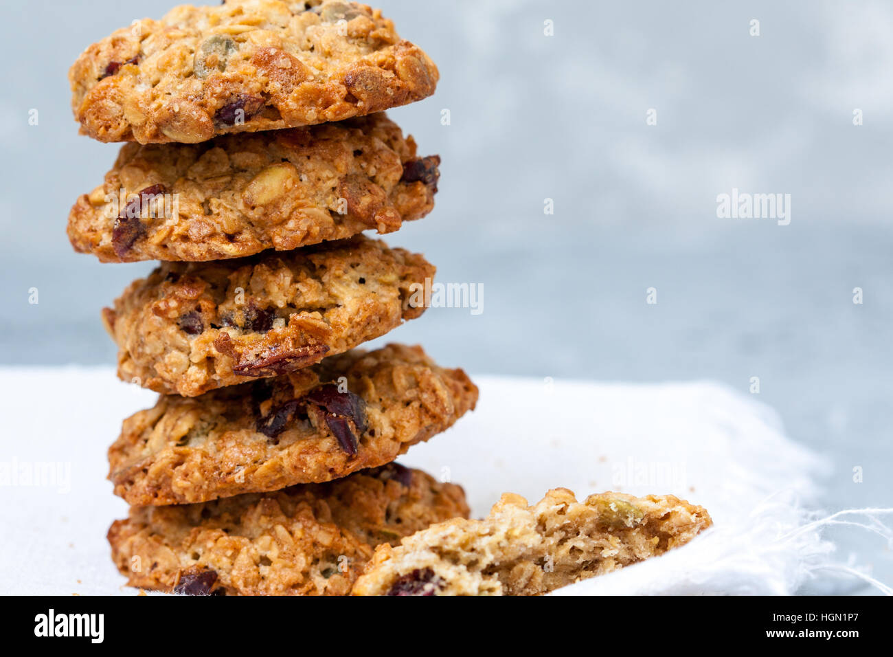 Homemade cookies with berries and seeds. - Stock Image