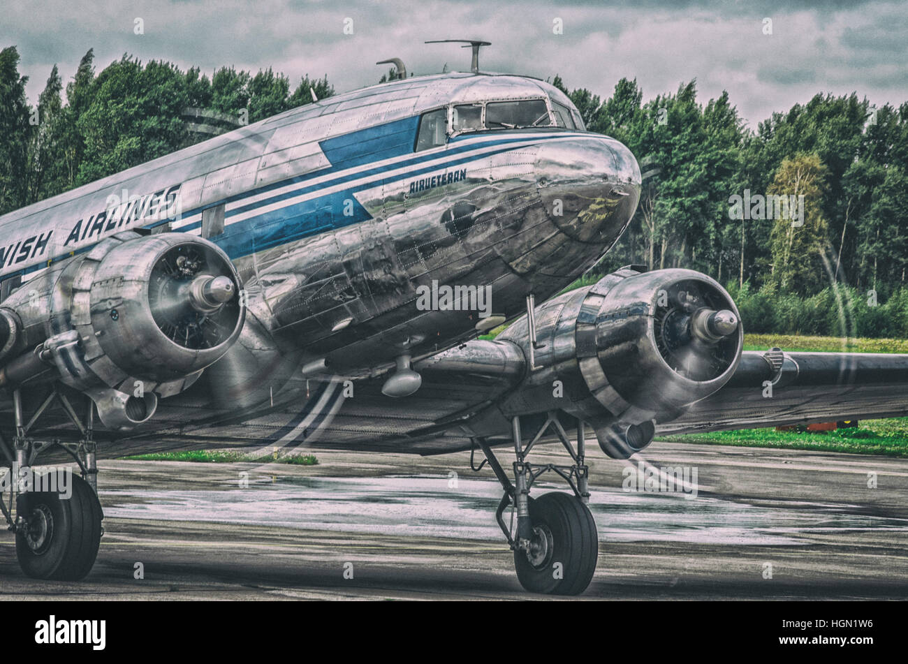 Airliner veteran, Douglas DC-3 at Helsinki-Malmi Airport - Stock Image