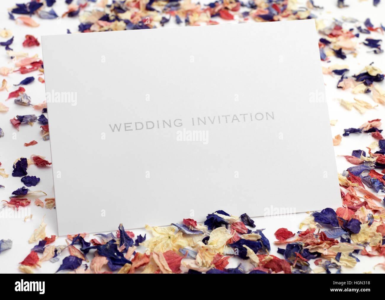 Bride and Groom wedding invitation - Stock Image