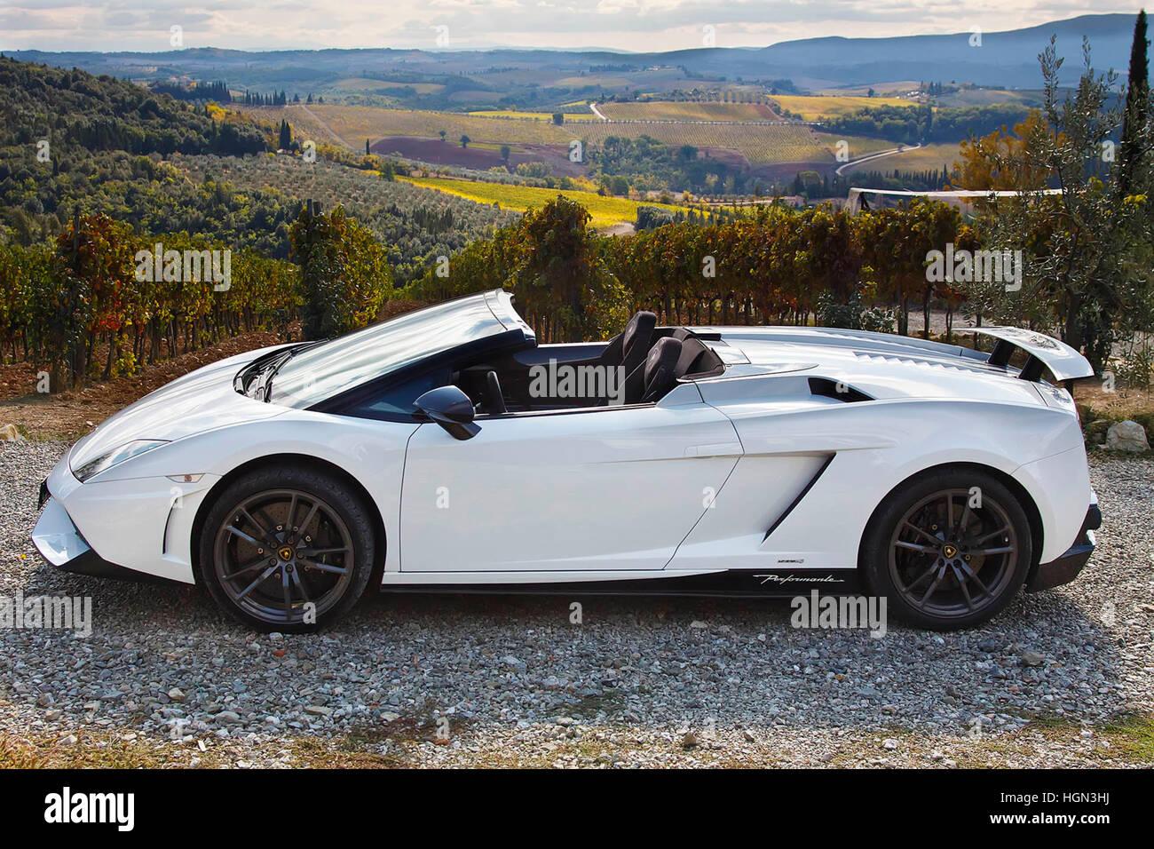 Lamborghini Gallardo Spyder Performante Tuscany Italy Stock Photo