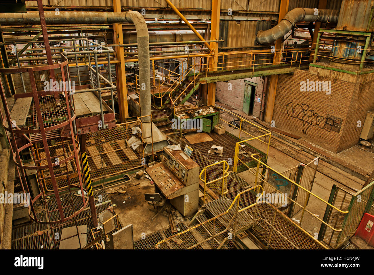 View looking down at part of the now closed Clock House Brickworks, Capel, Near Dorking, Surrey, UK - Stock Image