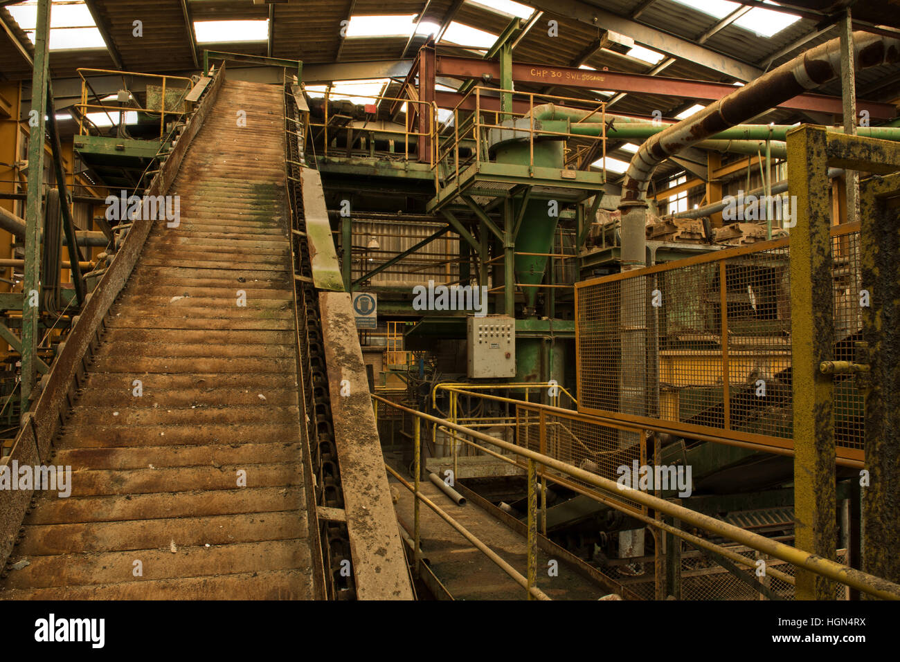 A conveyor within the now disused Clock House Brickworks, Capel, Near Dorking, Surrey, UK - Stock Image
