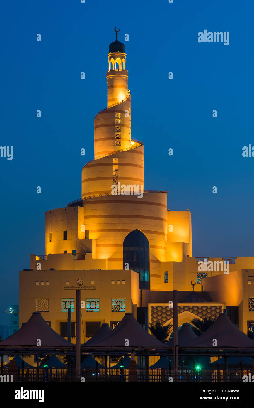 Bin Zaid Al Mahmoud Islamic Cultural Center (known also as Fanar) with its spiral mosque, Doha, Qatar - Stock Image