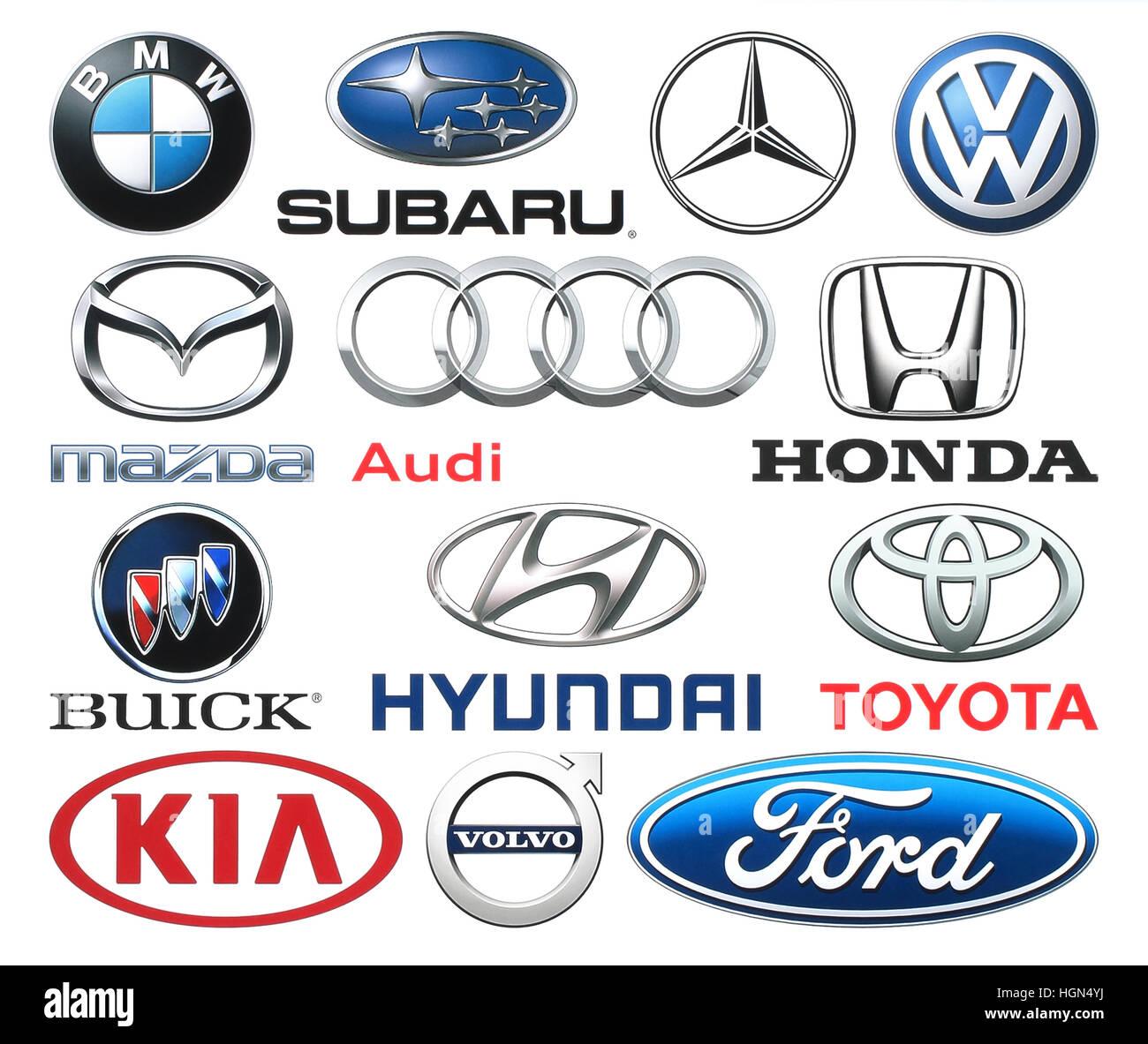 Kiev, Ukraine - June 03, 2016: Collection of popular car logos printed on white paper: Volkswagen, Audi, Subaru, - Stock Image