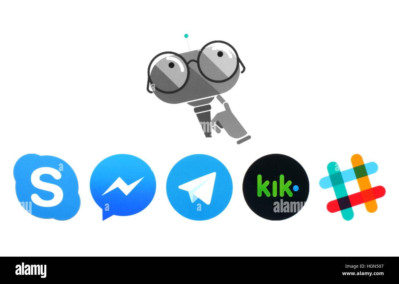 Kiev, Ukraine - July 11, 2016: Microsoft Murphy bot and Skype, Messanger, Telegram, Kik and Slack logos printed - Stock Image