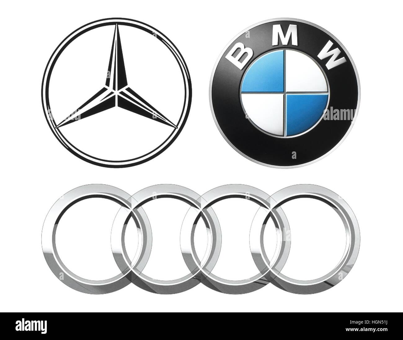 Kiev, Ukraine - September 12, 2016: Collection of popular German car logos printed on white paper: Mercedes, BMW - Stock Image