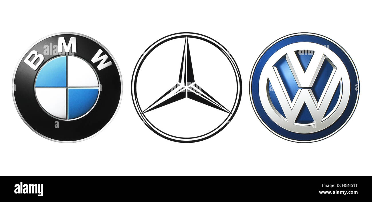 Kiev, Ukraine - September 21, 2016: Collection of popular German car logos printed on white paper: Mercedes, BMW - Stock Image