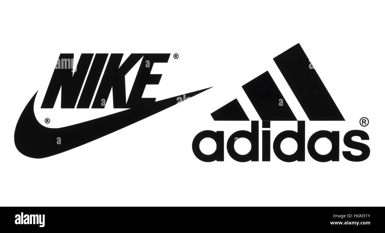 Kiev, Ukraine - September 26, 2016: Collection of popular manufactures sports shoes logos printed on paper: Nike - Stock Image