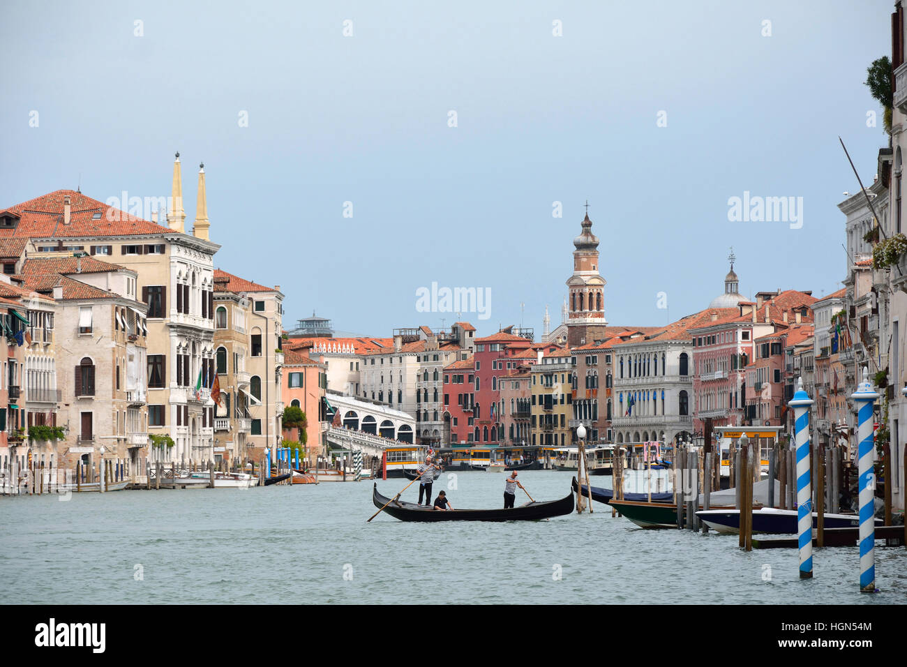 Historical Palaces at the Grand Canal of Venice in Italy. - Stock Image