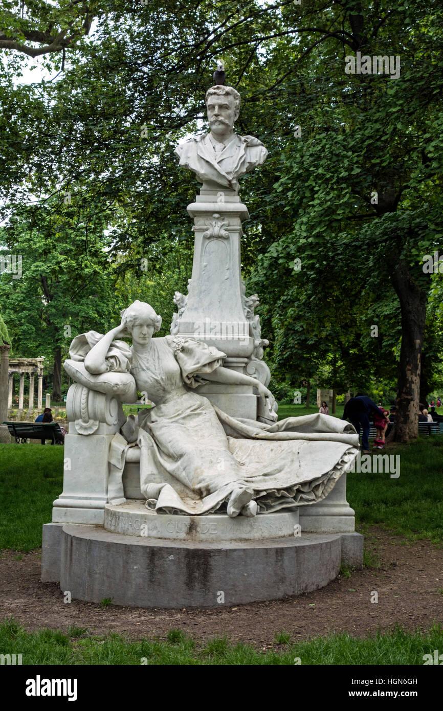 Monument for Guy de Maupassant, Paris Stock Photo