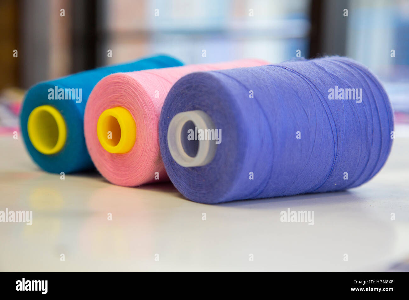 Thread rolls colorful - Stock Image