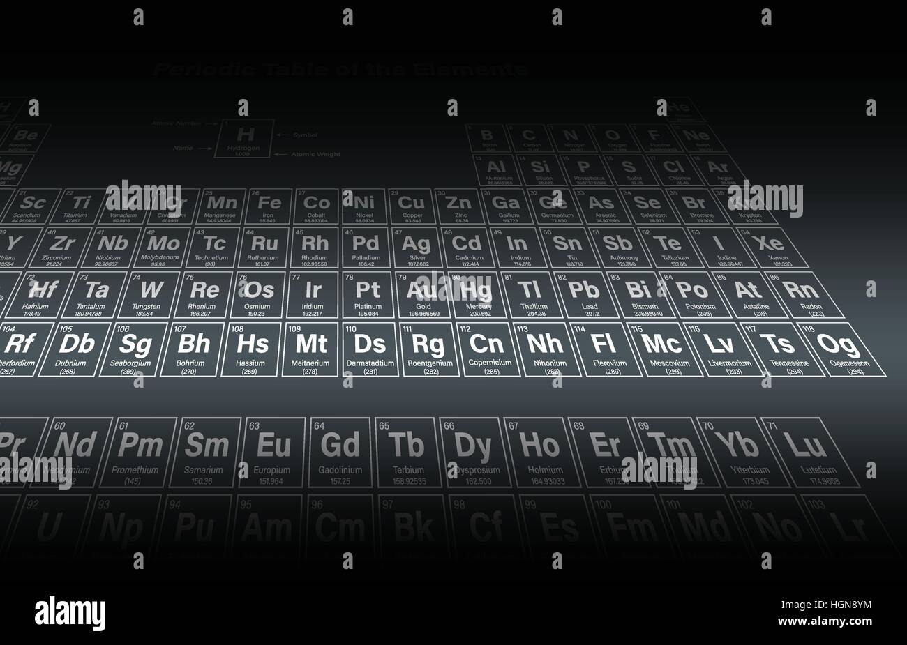 Periodic table of the elements including nihonium moscovium stock periodic table of the elements including nihonium moscovium tennessine and oganesson in perspective view vector illustration urtaz Choice Image
