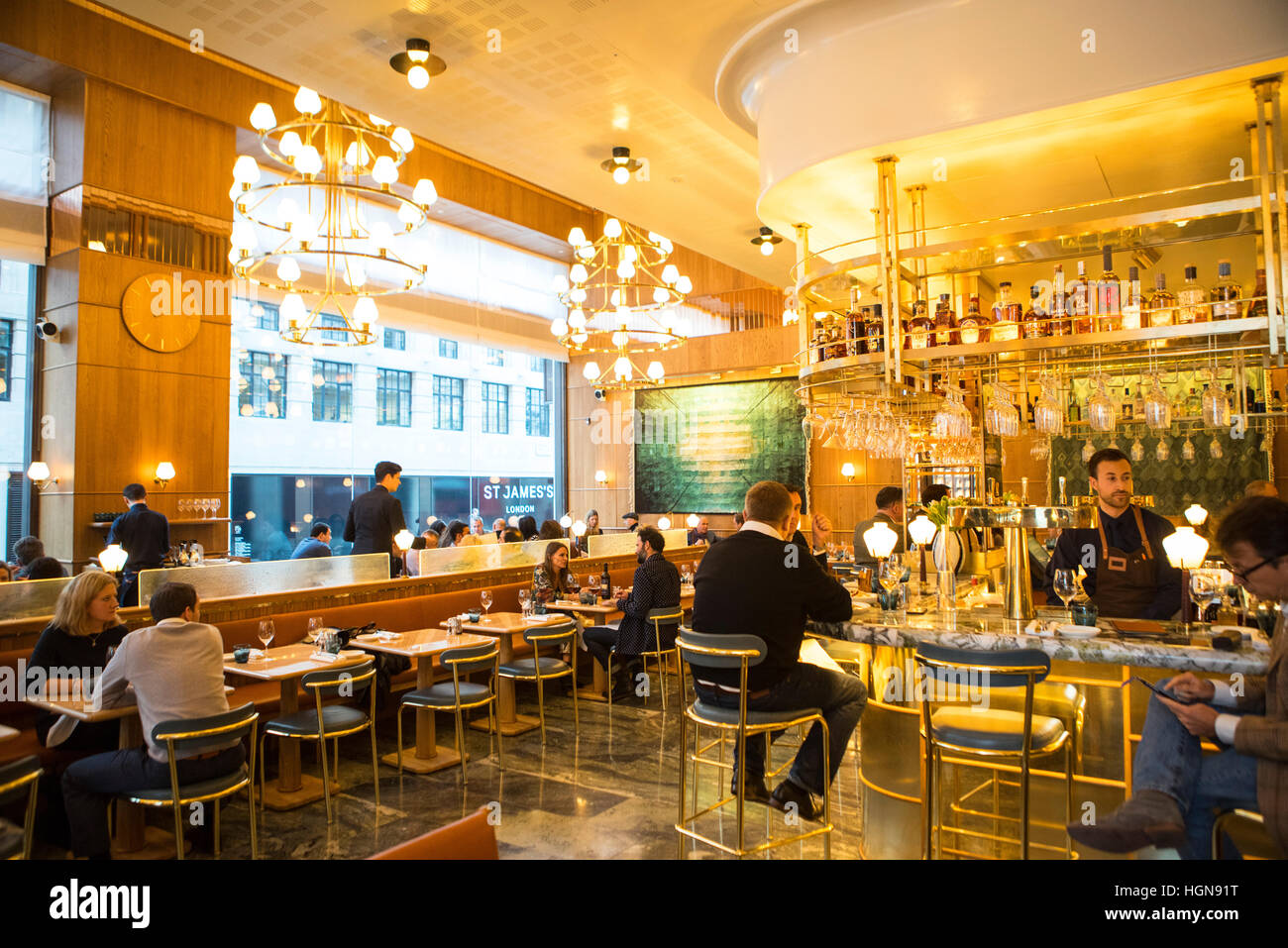 The interior of the restaurant Aquavit in central London. One of the many fine restaurants that are in the city - Stock Image