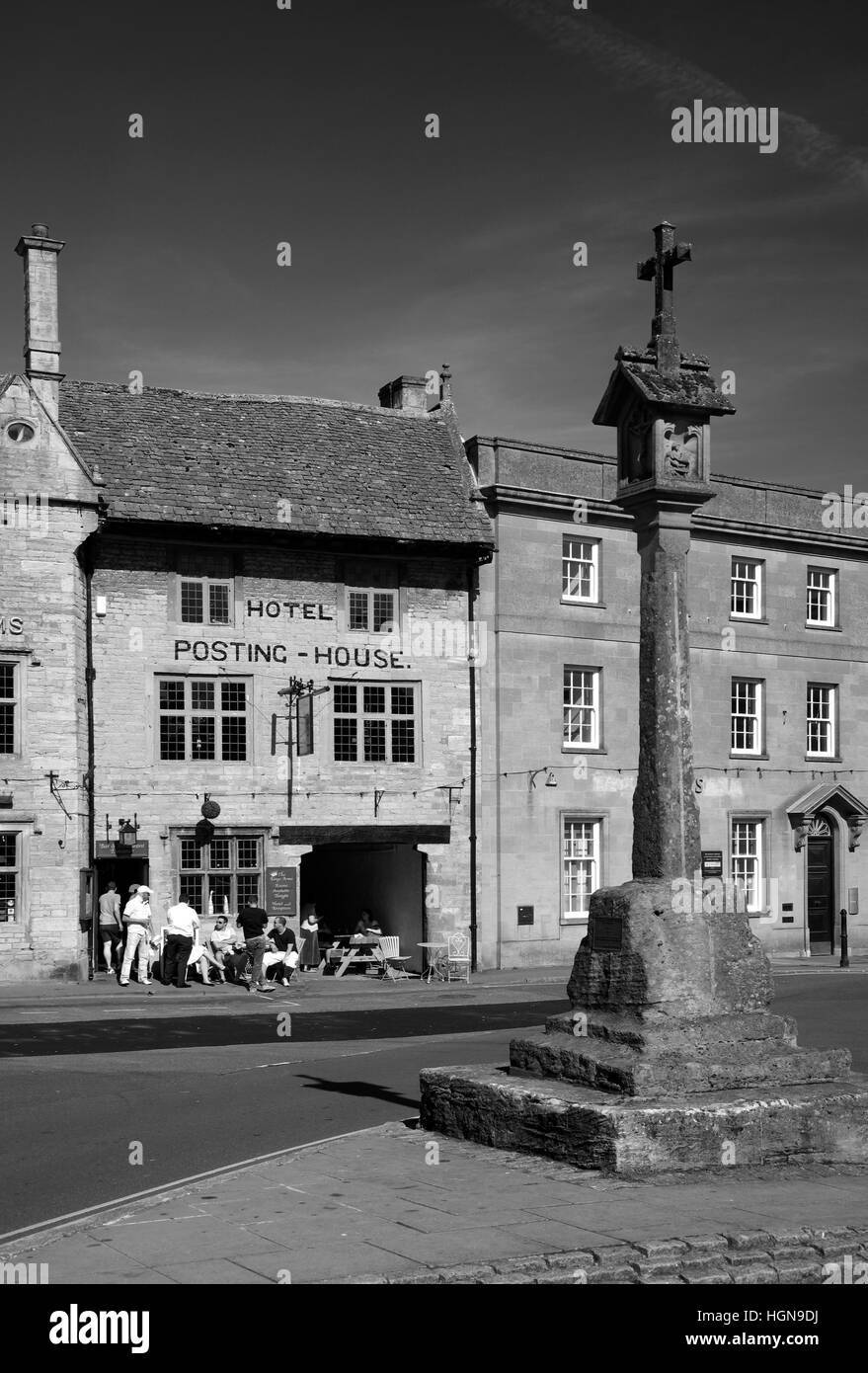 market square, Stow on the Wold village, Gloucestershire Cotswolds,England,UK - Stock Image