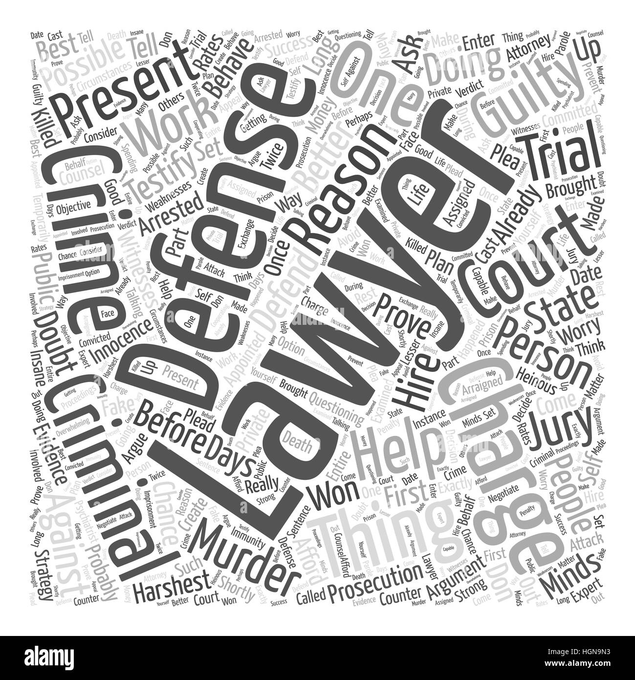 A Criminal Defense Lawyer Can Help You Defend Against Murder Charges Word Cloud Concept - Stock Image