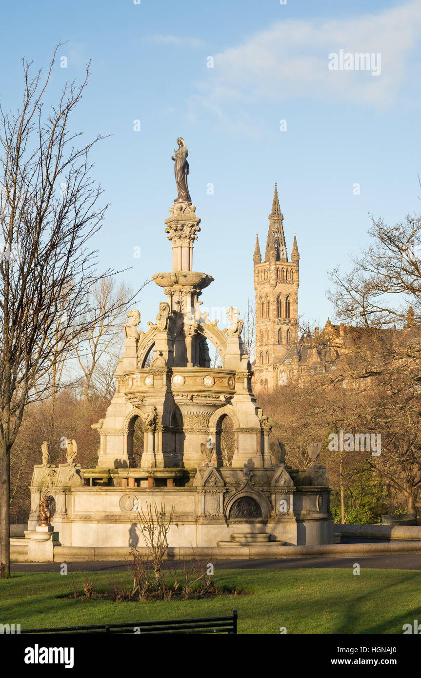 The Stewart Memorial Fountain in Kelvingrove Park Glasgow, with the University tower in the background, Scotland, - Stock Image