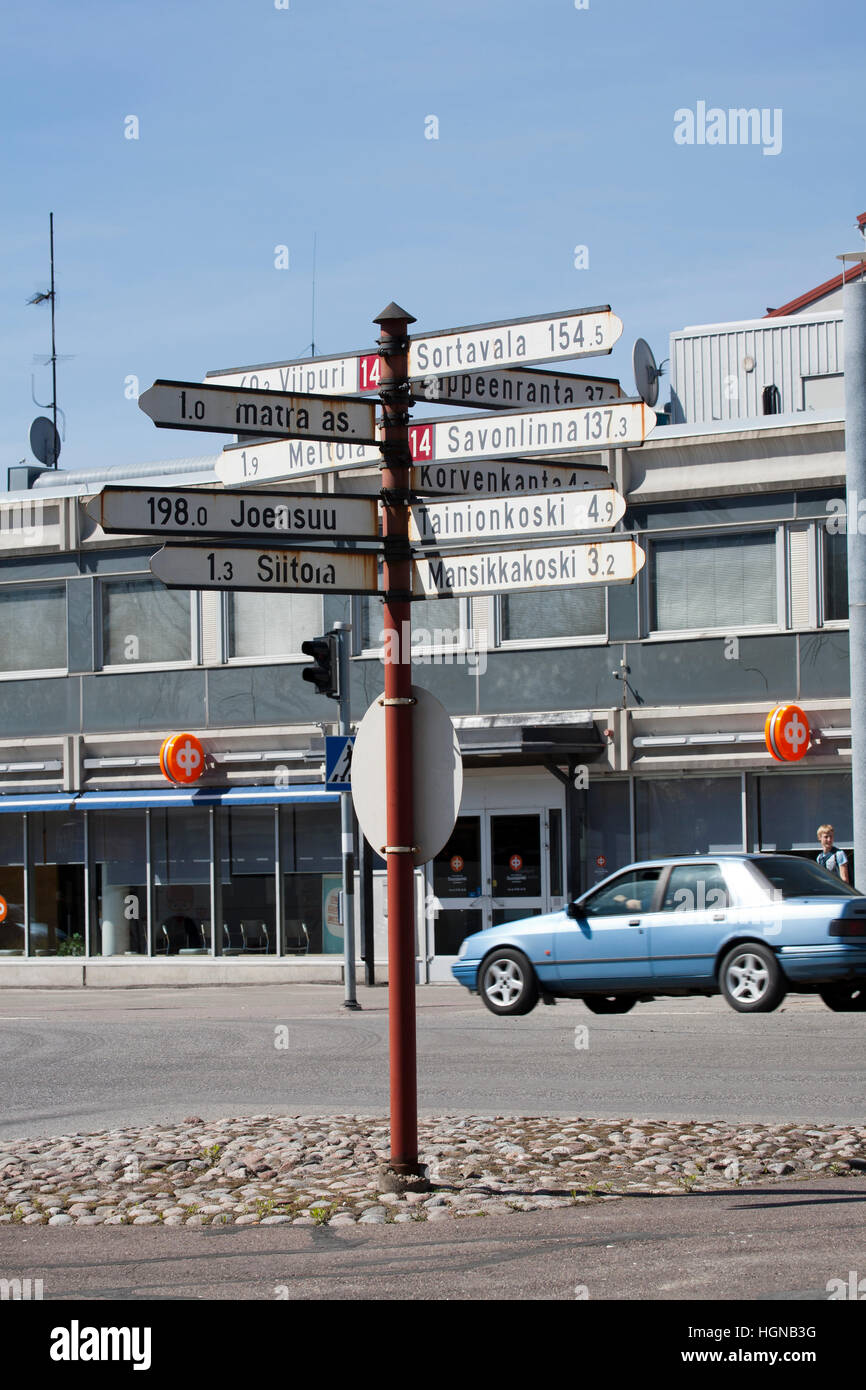 Distances sign pole, Imatra Finland - Stock Image
